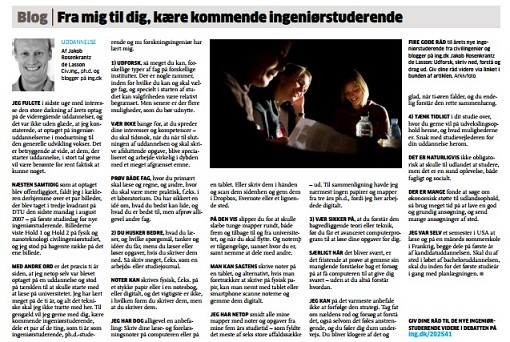 Blog post in printed version of Ingeniøren (August 2017)