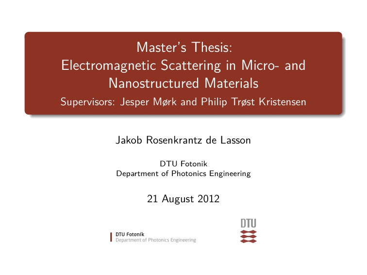 Power point presentation of master thesis on