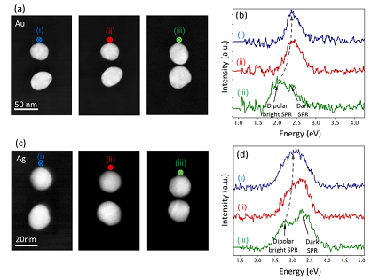 Scaling of the Surface Plasmon Resonance in Gold and Silver Dimers Probed by EELS, J. Phys. Chem. C 118, 5478−5485 (2014)